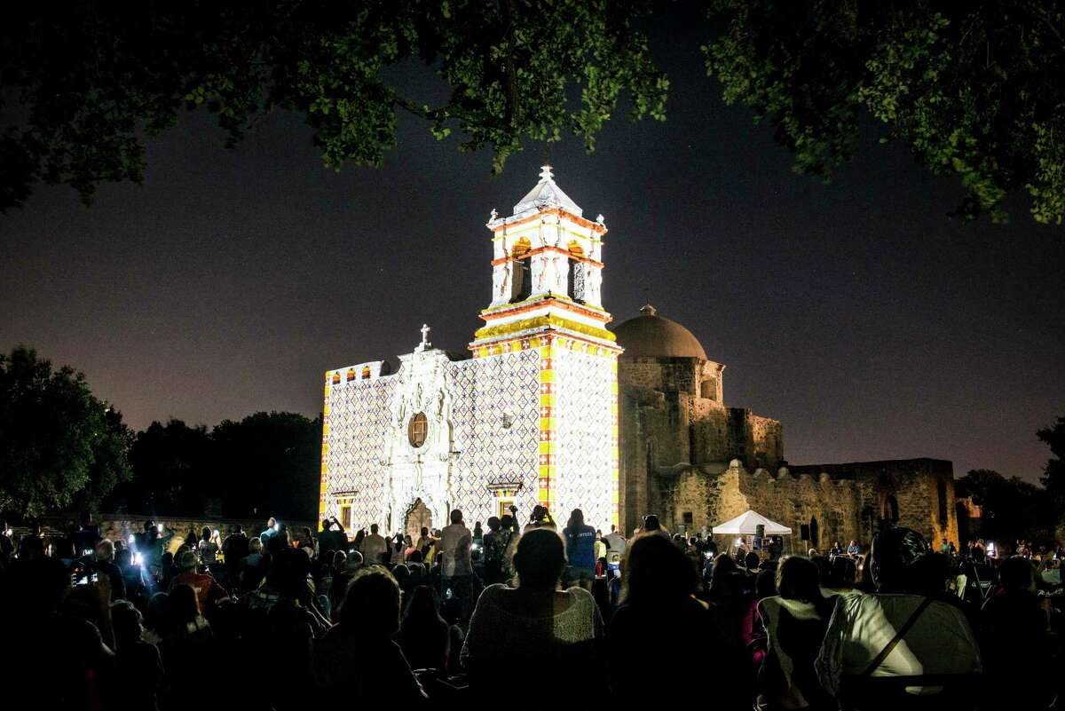 """Projections light up Mission San Jose during the """"Restored by Light"""" presentation in San Antonio, Texas on Friday, September 9, 2016. Mission San Jose?'s was """"Restored by Light"""" to its original frescoed façade using projection technology as part of the World Heritage Festival and in celebration of 100 years of the National Park Service."""
