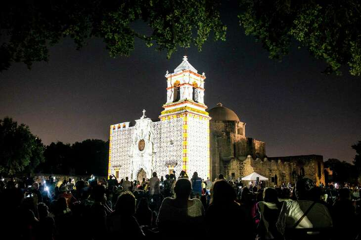 """Projections light up Mission San Jose during the """"Restored by Light"""" presentation in San Antonio, Texas on Friday, September 9, 2016. Mission San Jose's was """"Restored by Light"""" to its original frescoed façade using projection technology as part of the World Heritage Festival and in celebration of 100 years of the National Park Service."""