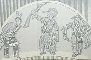Murals depicting Native American dancers will be installed in late January 2021 on the overpass connecting Exit 3 of the Northway in Colonie to the Albany airport. (Provided photo.)