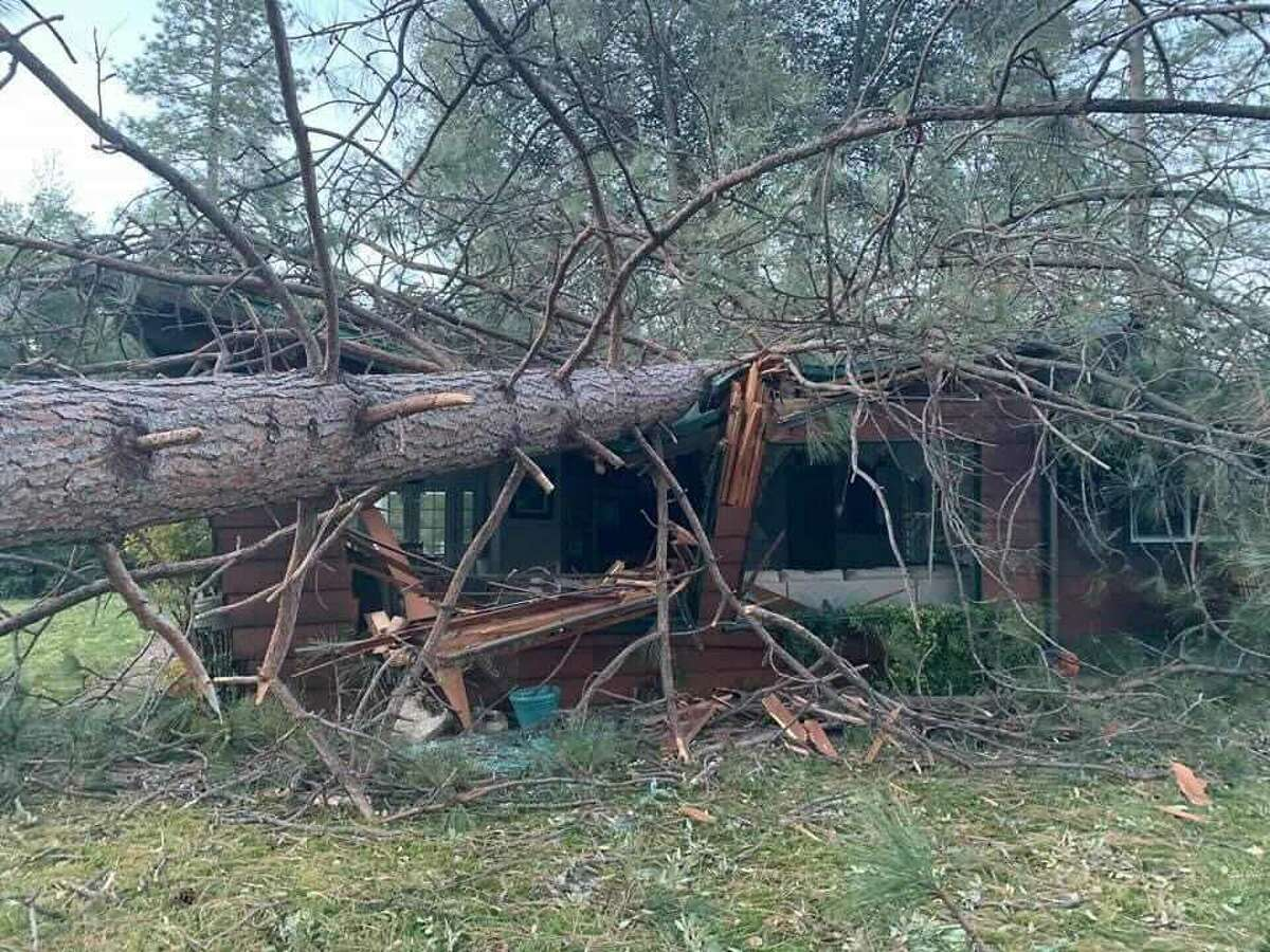 Damage in Mariposa, Calif., after a wind event, Jan. 18-19, 2021.
