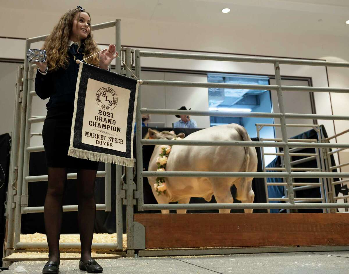 A Grand Champion Steer is herded around by exhibitor, Amy Pearson, during the 74th Annual Humble ISD Livestock Show and Auction held at the Humble Civic Center ballroom, Thursday, Jan. 21, 2021, in Humble. The steer was auctioned off for $22,000.