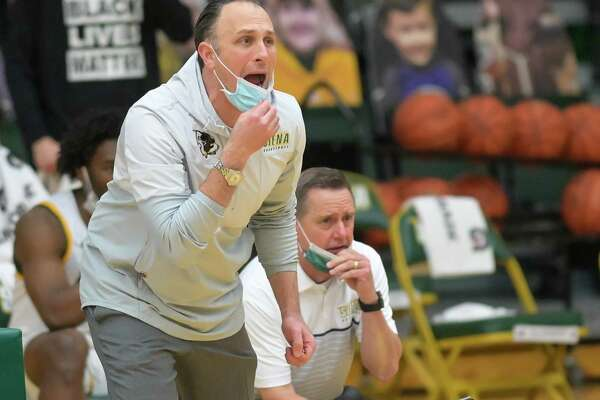 Siena College head coach Carmen Maciariello give his team direction during a Metro Atlantic Athletic Conference game against St. Peter's University at the Alumni Recreation Center on the Siena College campus in Loudonville, NY, on Friday, Jan. 22, 2021 (Jim Franco/special to the Times Union.)