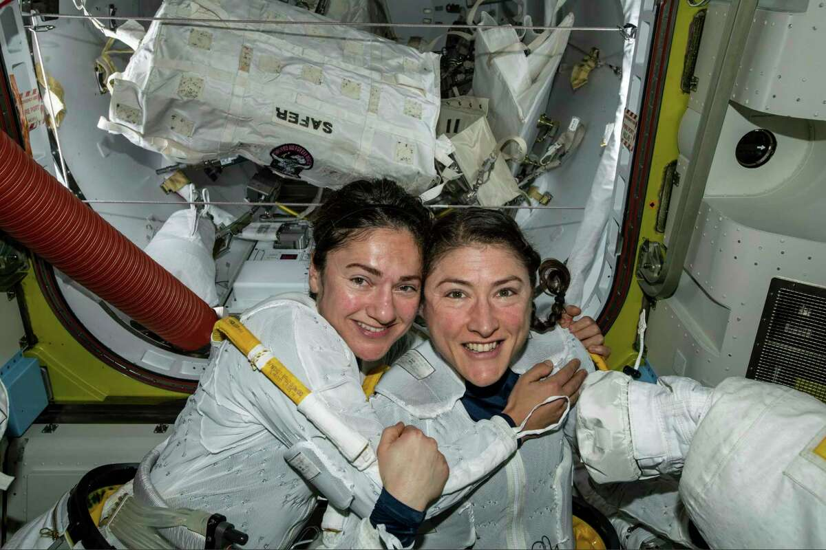 Astronauts Jessica Meir, left, and Christina Koch took part in the first all-female spacewalk in October 2019.