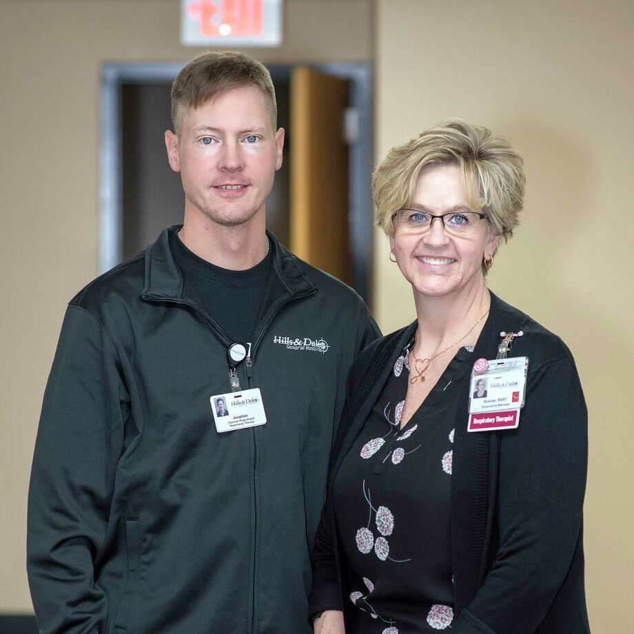 Pictured are exercise physiologist Jonathan Winkel and Brenda McComb, BSRT, manager of cardiopulmonary department at Hills & Dales General Hospital. (Submitted Photo)