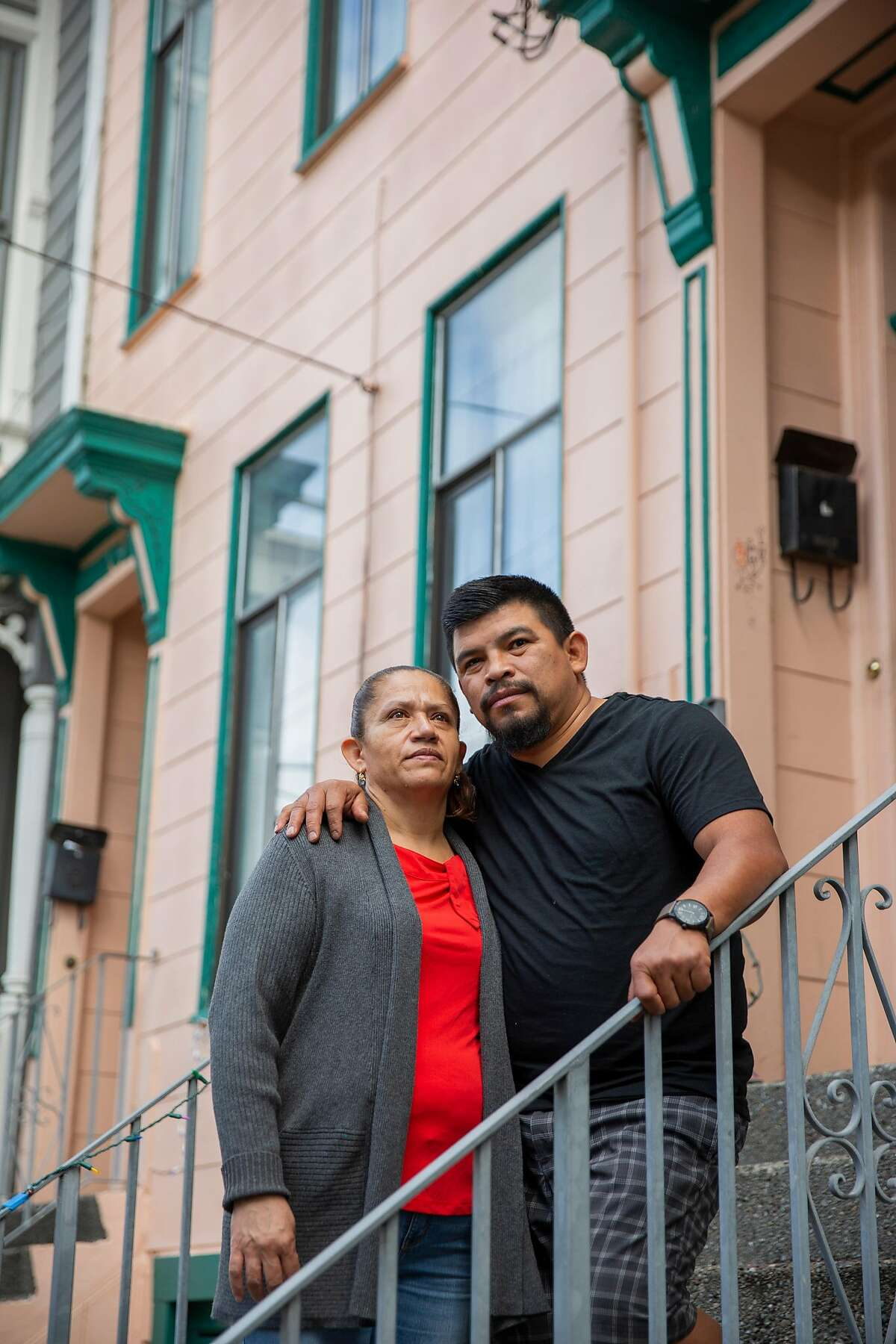 Antonia Lopez and Nelvin Velasquez outside their Mission District apartment,.
