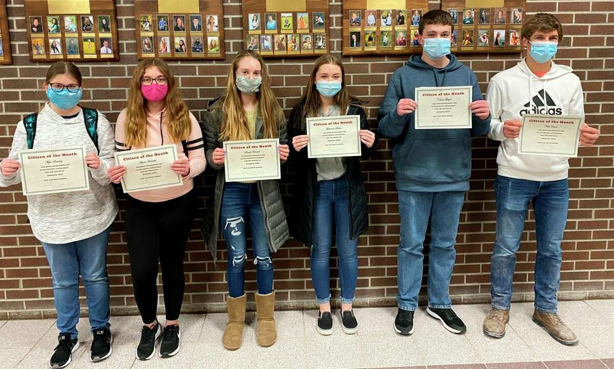 Bad Axe Schools have announced the Citizens of the Month for January 2021. For the high school, students named are, from left, Grade 7 Mya Sanchez, Grade 8 Amber Horetski, Grade 9 Sarah Howard, Grade 10 Julianna Shisler, Grade 11 Nathan Geiger and Grade 12 Nick Errer. (Submitted Photo)