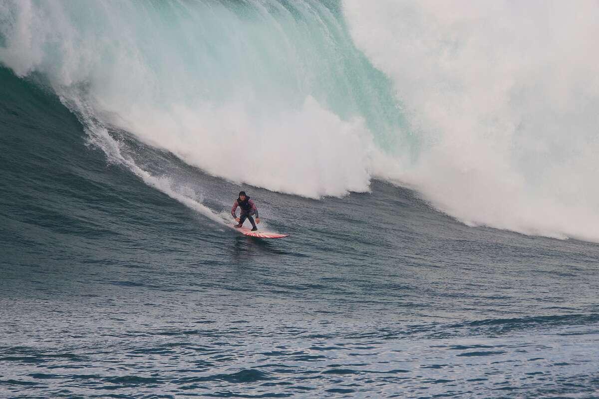 San Francisco big-wave surfer Bianca Valenti drops into a Mavericks wave on Jan. 10, 2021.