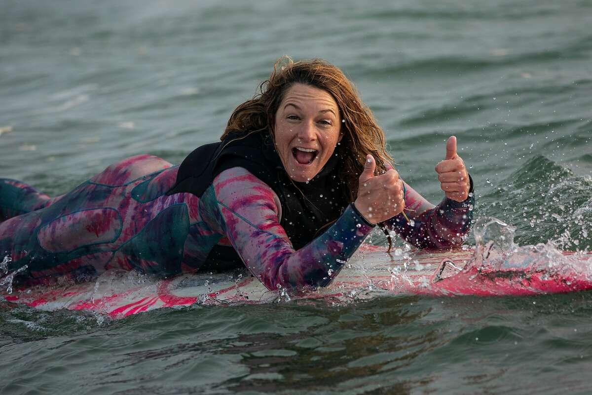 San Francisco's Bianca Valenti in the water at Mavericks on Jan. 10.