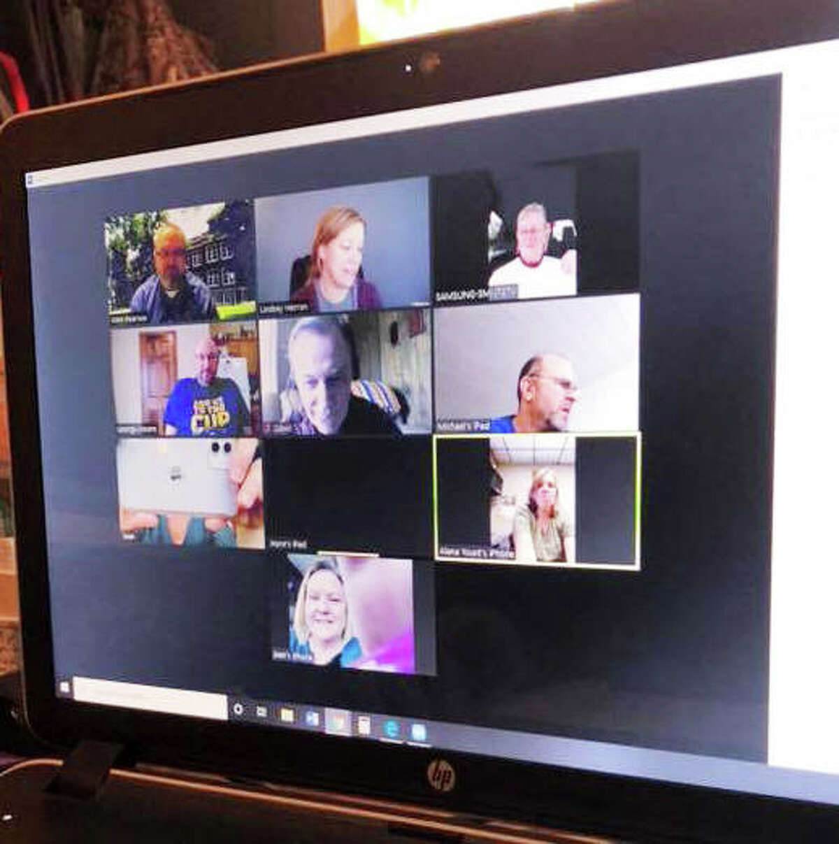 Members of the new Riverbend East Rotary Club, formed by the merger of two former Rotary clubs - East Alton and Wood River - meet virtually via Zoom to discuss agenda items at its weekly meeting at noon Thursdays. The merger became official this month.