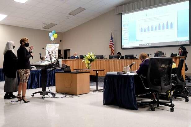 Beaumont ISD board members listen to program reports during their meeting Thursday. Photo taken Thursday, January 21, 2021 Kim Brent/The Enterprise