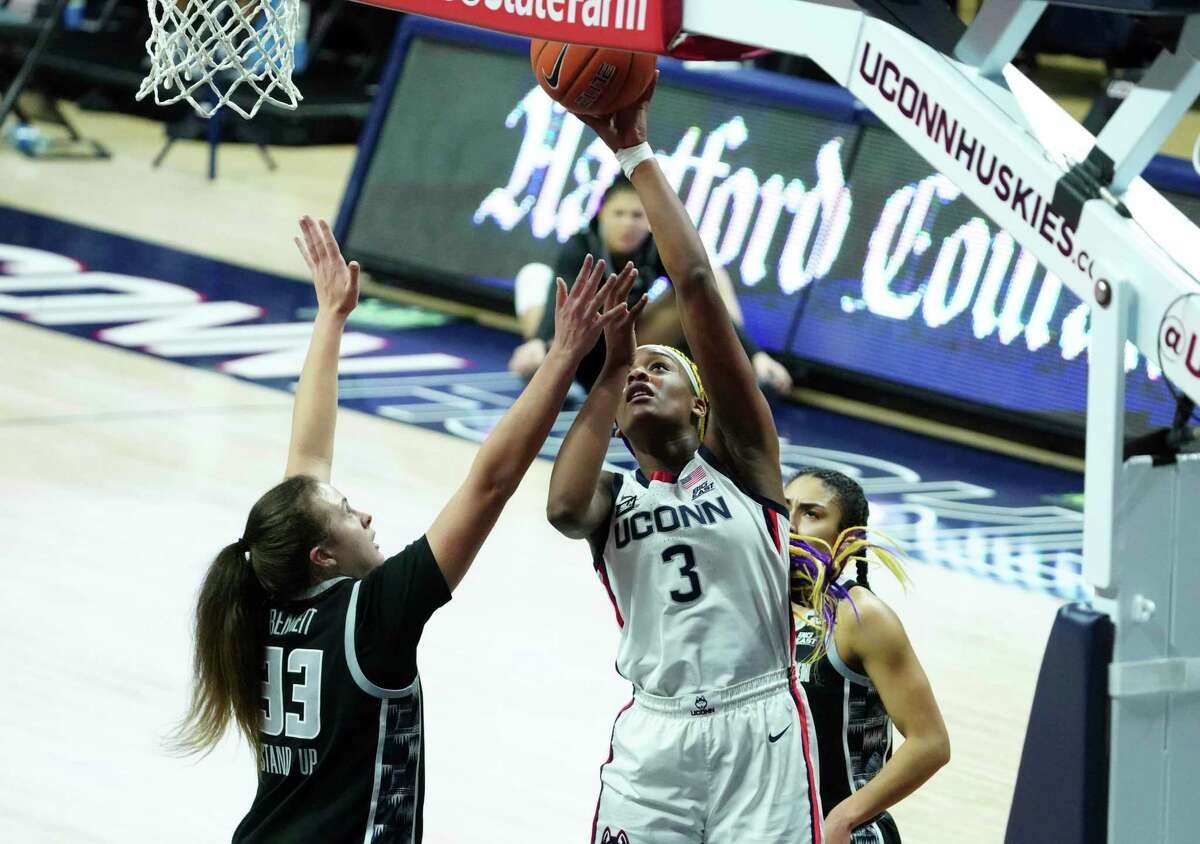 UConn forward Aaliyah Edwards (3) shoots against Georgetown in the second half on Saturday in Storrs.