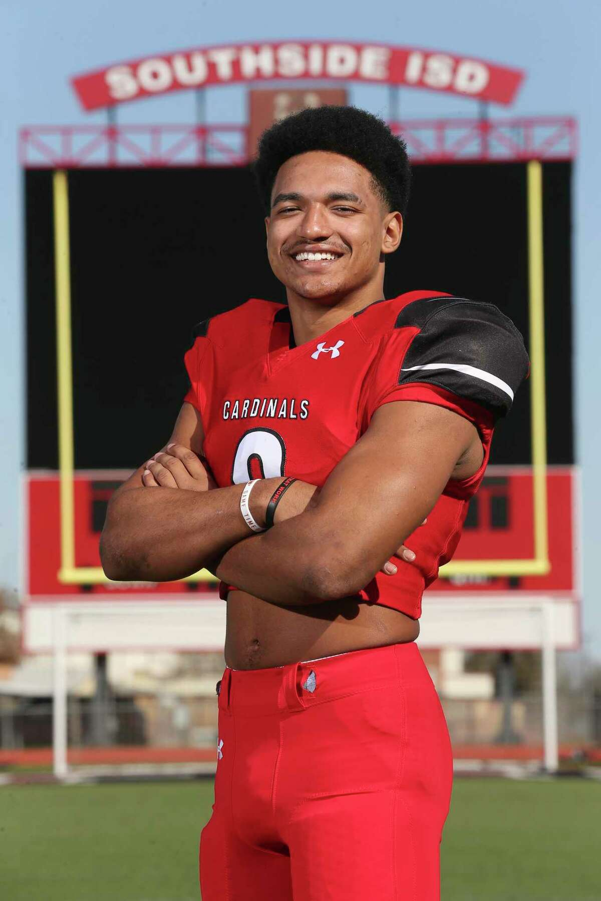 Micah Young, of Southside High School, poses in the school's stadium, Friday, Jan. 15, 2021. The linebacker is the Defensive Player of the Year.