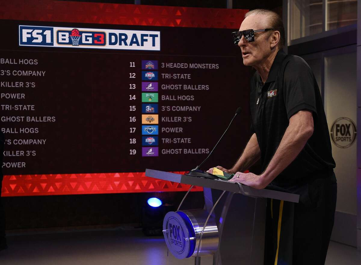 Coach Rick Barry announces the Ball Hogs No. 1 pick Andre Owens during the BIG3 2018 Player Draft at Fox Sports Studio on April 12, 2018.
