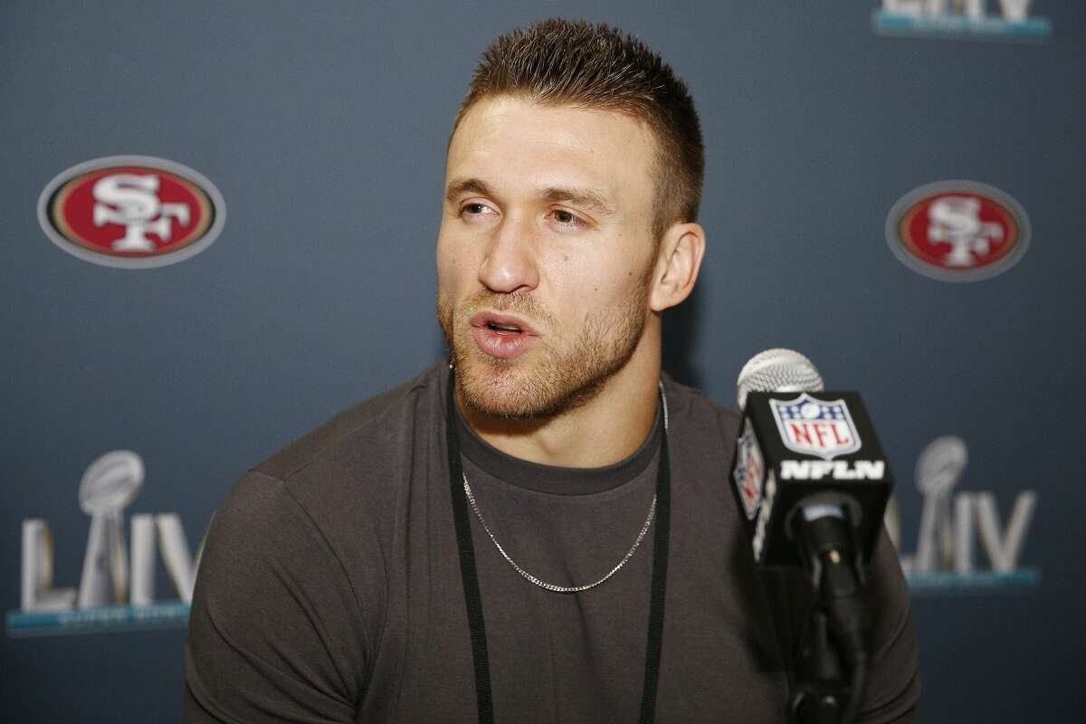 Kyle Juszczyk of the San Francisco 49ers speaks to the media during the San Francisco 49ers media availability prior to Super Bowl LIV.