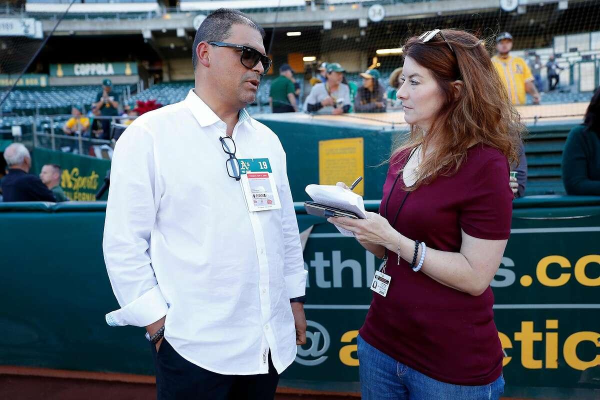Oakland Athletics' Jesus Luzardo's father, Jesus, with Susan Slusser in Oakland, Calif., on Tuesday, September 17, 2019.