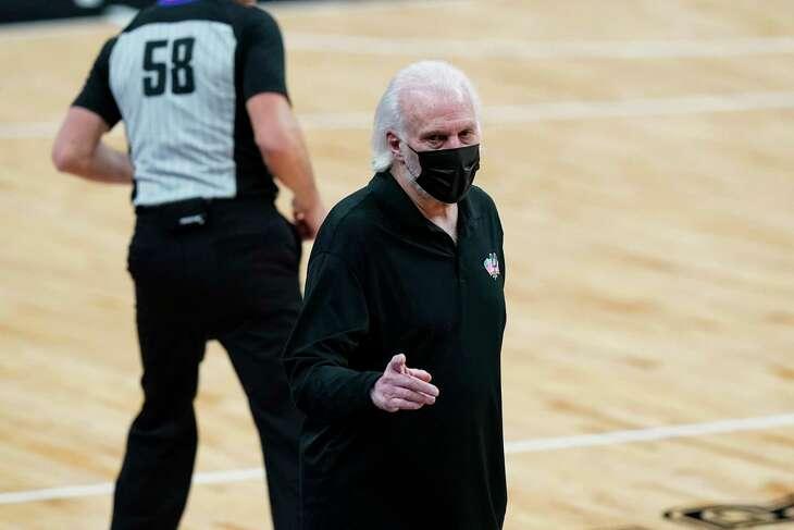 San Antonio Spurs head coach Gregg Popovich during the second half of an NBA basketball game against the Dallas Mavericks in San Antonio, Friday, Jan. 22, 2021. (AP Photo/Eric Gay)