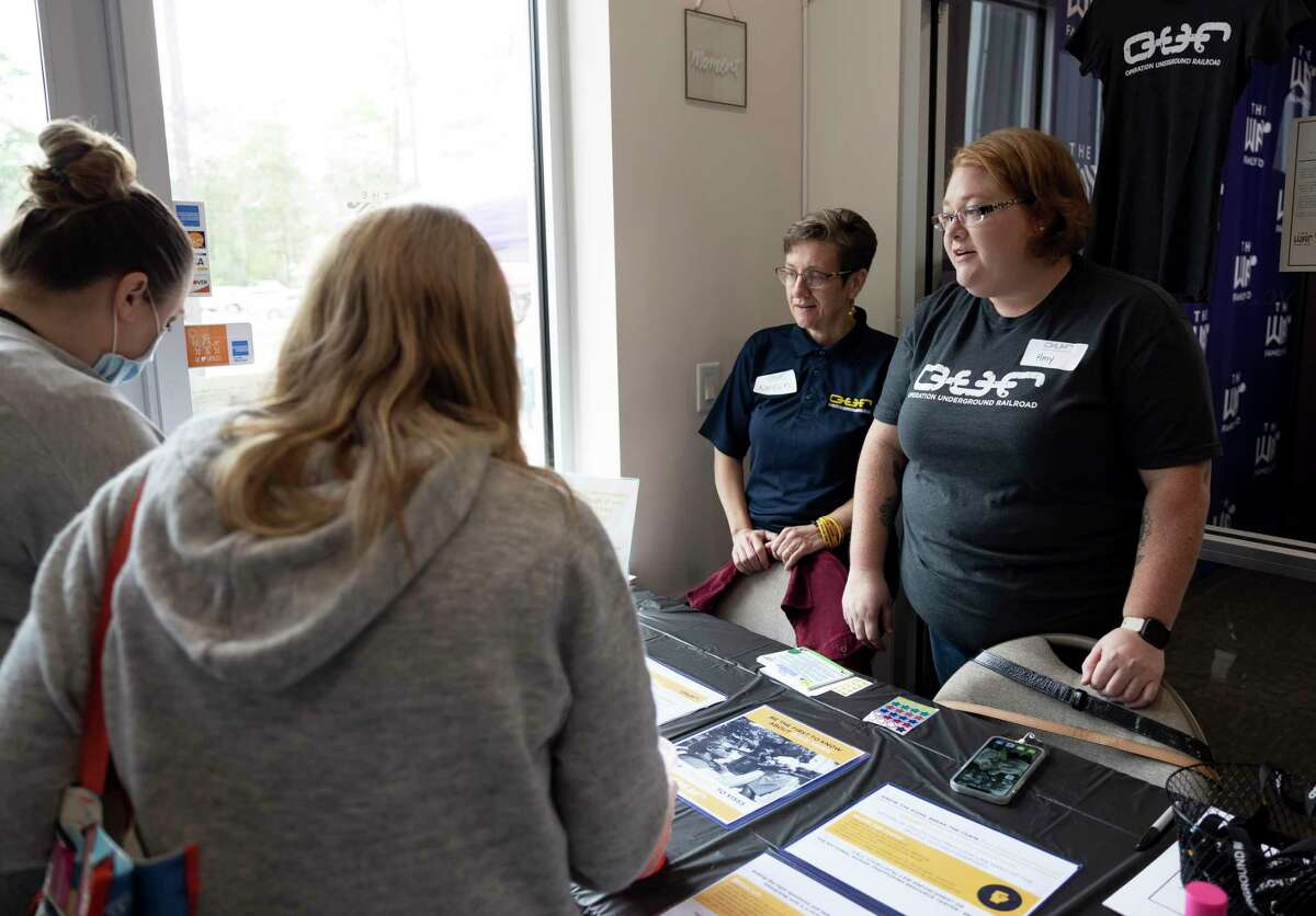 Amy Winton, right and Kareen Thornock speak about Operation Underground Railroad during a public event held at The Way Family Dojo, Saturday, Jan. 23, 2021, in Magnolia. Operation Underground Railroad is an organization in the Houston area to assist in the ending of human trafficking.