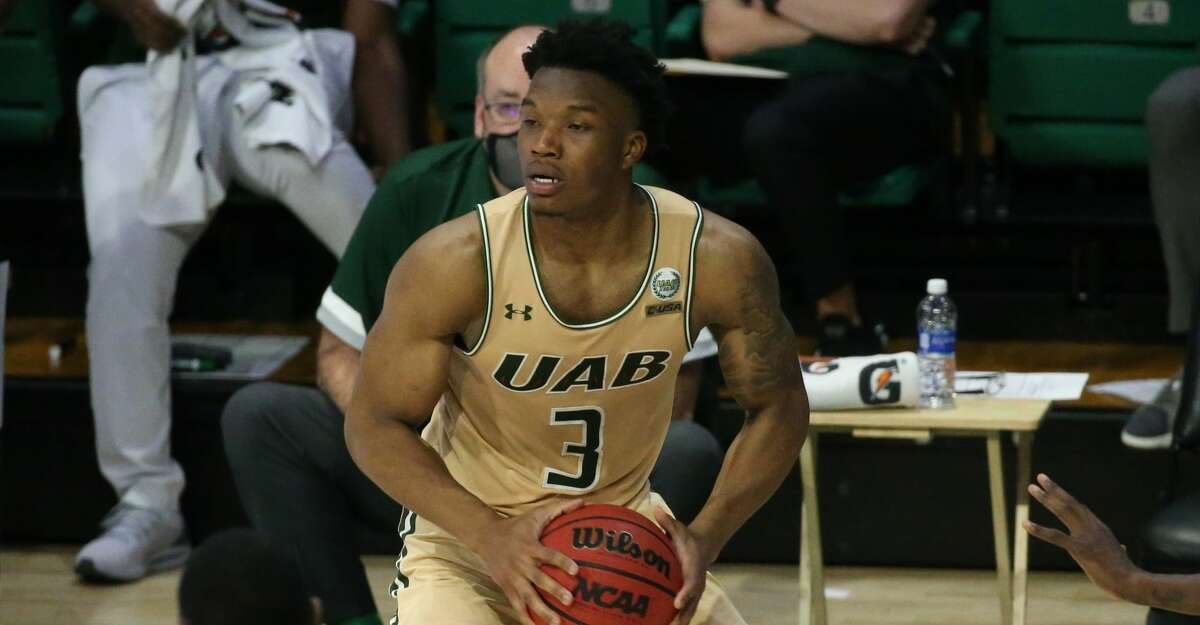 UAB Blazers guard Tavin Lovan had 32 points against Rice on Saturday. (Photo by Michael Wade/Icon Sportswire via Getty Images)