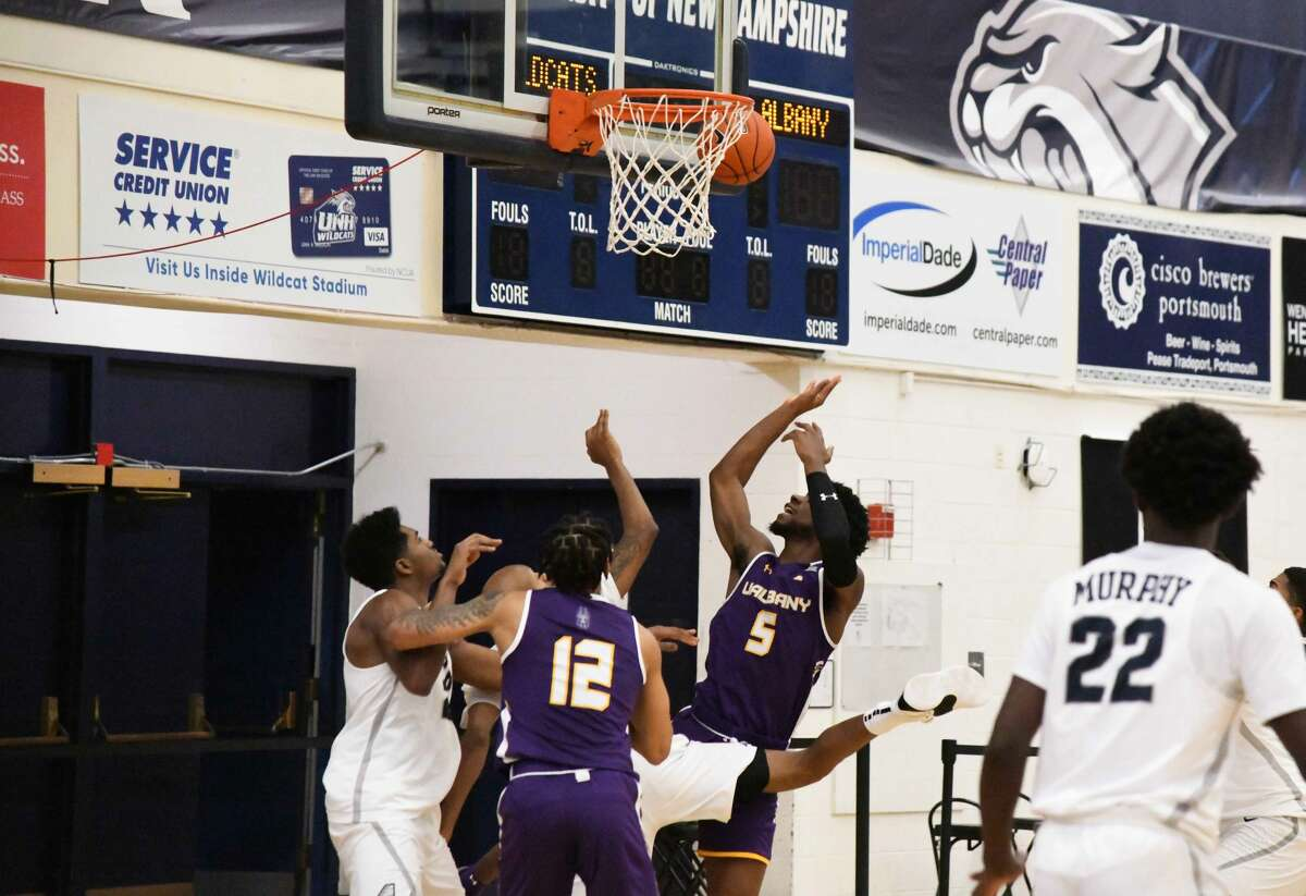 UAlbany is seen in action Sunday in an America East game at New Hampshire. The Great Danes likely won't play again until mid-February because of a 10-day pause triggered by a positive coronavirus test among the program's Tier I personnel. (Larissa Biette/UNH Athletics)