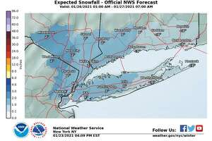 Parts of Connecticut could see snow as early as Monday night after about 1 a.m., with the odds of snow around 20 percent.