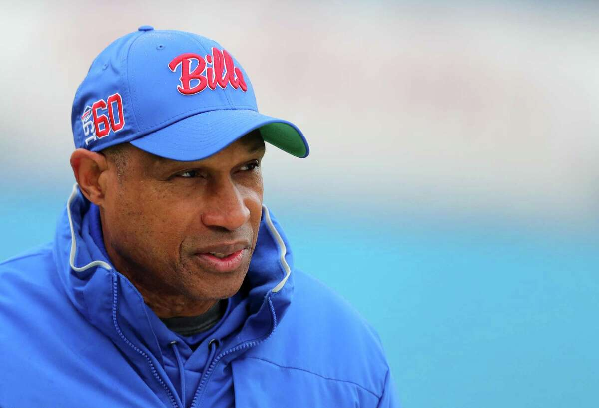 Leslie Frazier, Buffalo's defensive coordinator, is a candidate for the Texans head coaching job.