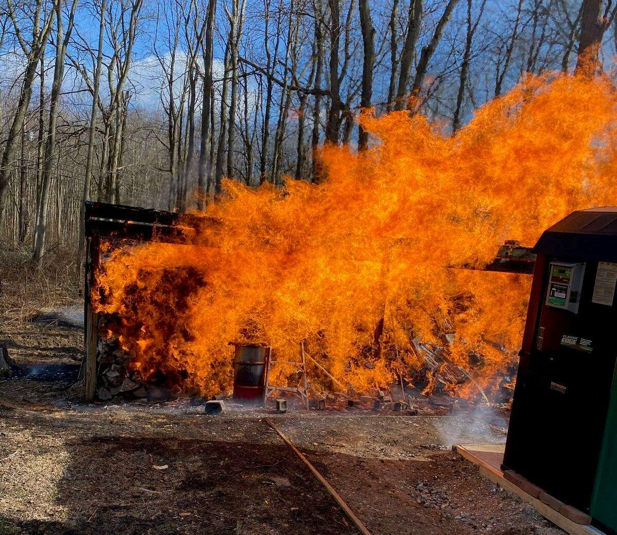 Shelton firefighters doused a shed fire on a Beverly Lane property on Saturday, Jan. 23.