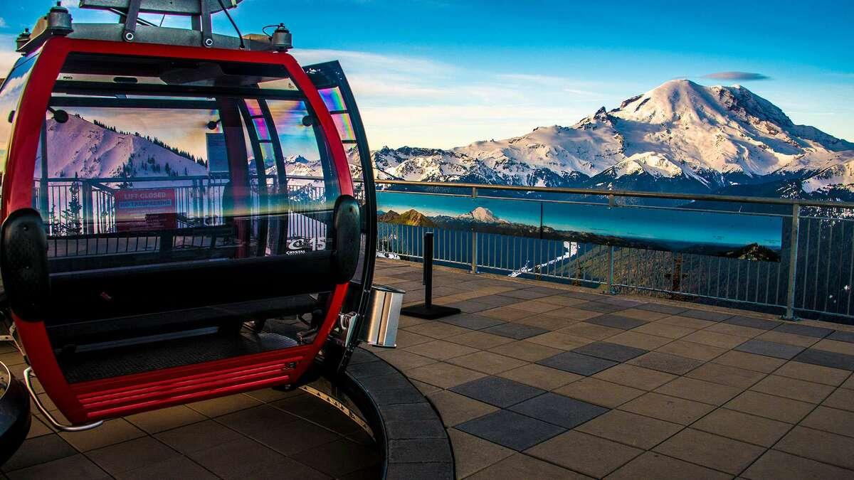 A gondola's view of Mount Rainier.