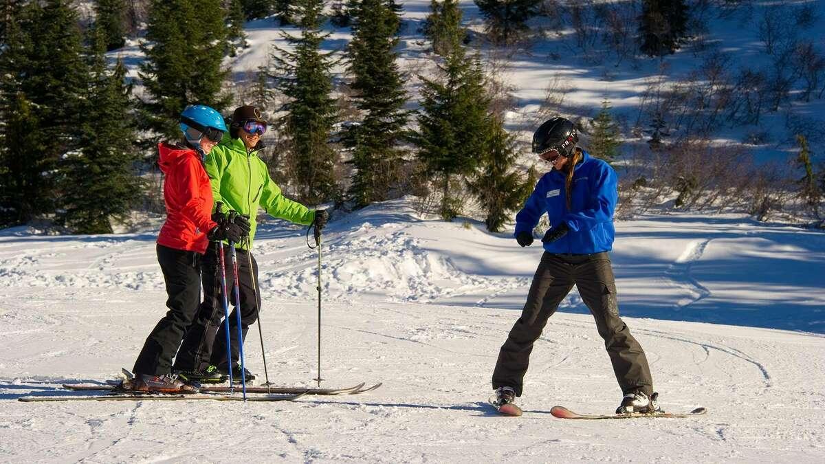 Ski lessons on Crystal Mountain.