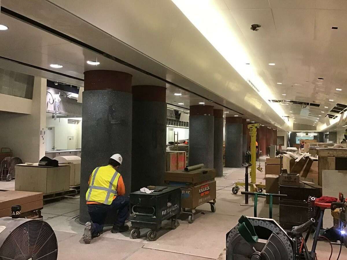 Grouting the columns in the ticketing area in the future LIRR passenger concourse