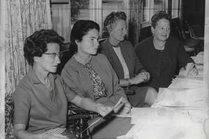 Wolfert's Roost Country Club, Albany, New York - Northeastern Women's Golf Association new officers - Mrs. Robert Chylinski, 2nd Vice President; Mrs. Kenneth Reynolds Jr., Secretary; Mrs. Douglas Coupe, President; Mrs. Thomas Beck, 1st Vice President. October 20, 1964 (Bob Wilder/Times Union Archive)