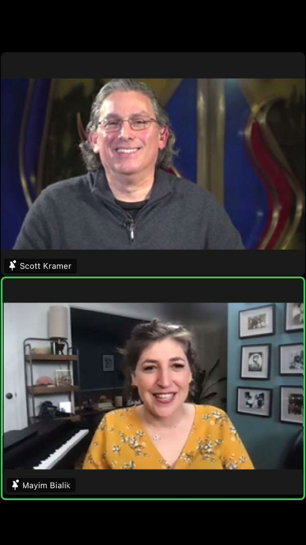 The Zoom discussion with actress Mayim Bialik is moderated by Temple Sholom congregant and VP of Programming Scott Kramer, as she answered questions on all topics for nearly 200 participants.