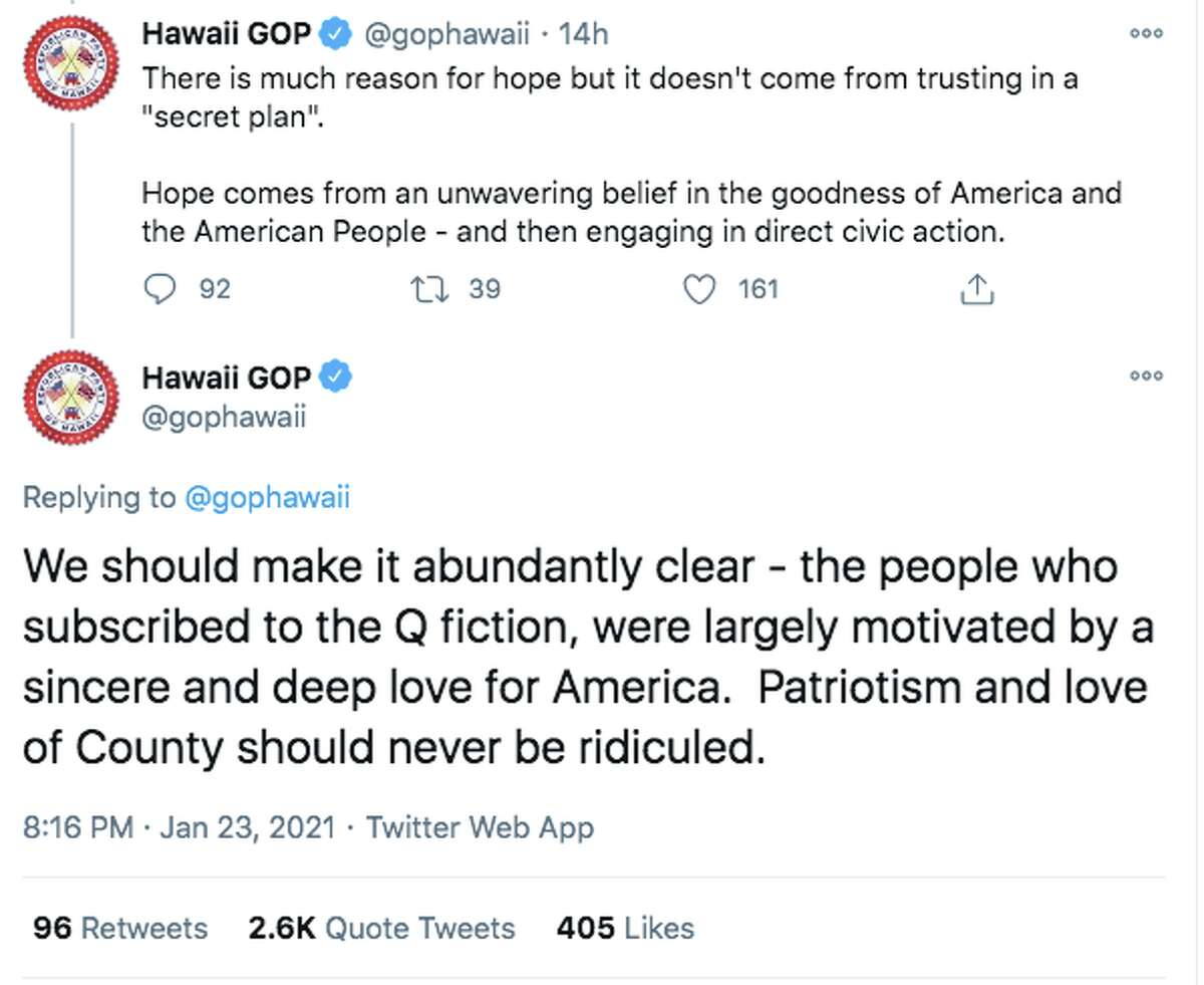 The Hawaii Republican Party Twitter account tweeted in support of QAnon believers on Jan. 23, 2021. The tweets have since been deleted.