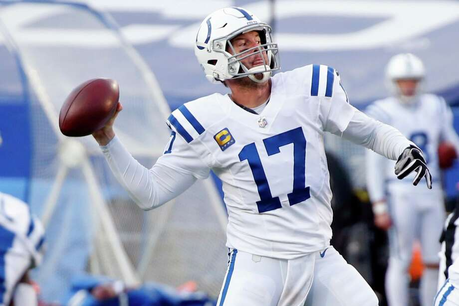 Indianapolis Colts' Philip Rivers (17) throws a pass to Jack Doyle for a touchdown during the second half of an NFL wild-card playoff football game against the Buffalo Bills Saturday, Jan. 9, 2021, in Orchard Park, N.Y. (AP Photo/Jeffrey T. Barnes) / Copyright 2021 The Associated Press. All rights reserved
