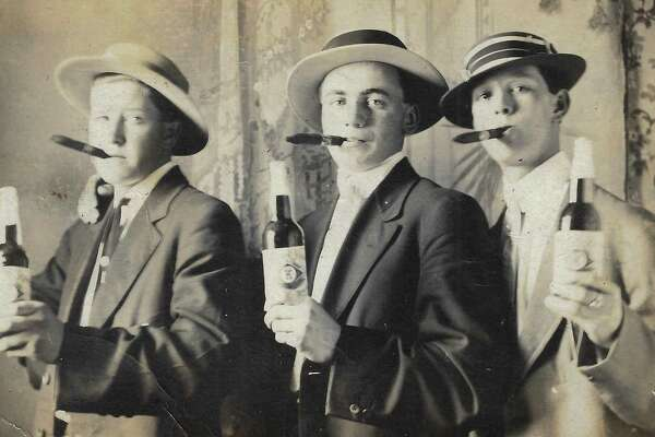 Three suave local boys with cigars and beer in 1911 Frankfort during Local Option (the county was dry since 1909). Pictured (from left to right) are Harold Erickson, Harry Jacobson and Floyd Decker. (Courtesy Photo)