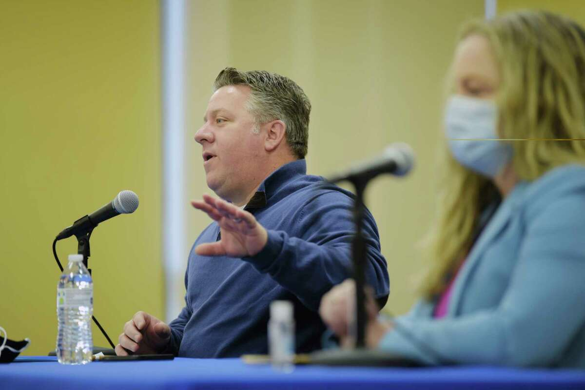 Albany County Executive Dan McCoy, left, and Albany County Department of Health Commissioner Dr. Elizabeth Whalen, take part in a press conference that was held to discuss Covid-19 related issues on Sunday, Jan. 24, 2021, in Albany, N.Y. (Paul Buckowski/Times Union)