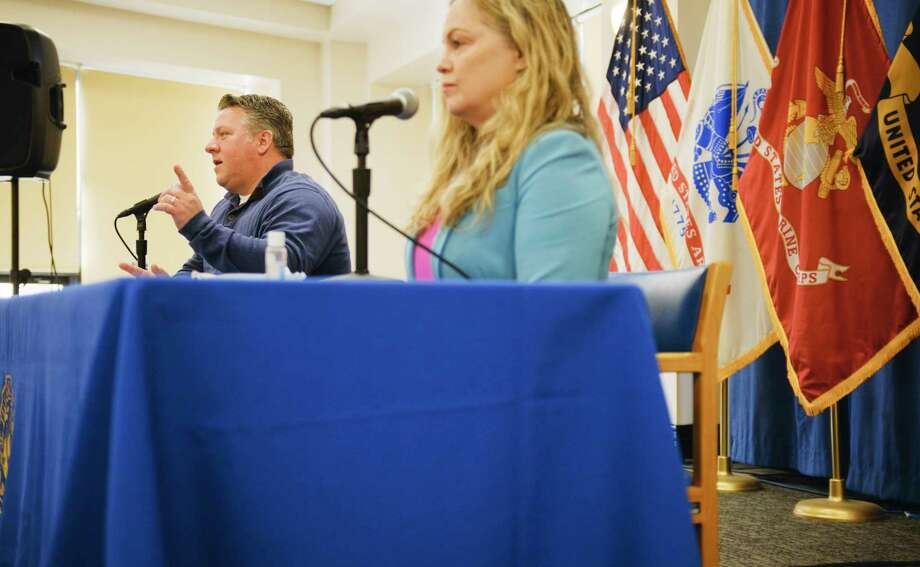 Albany County Executive Dan McCoy, left, and Albany County Department of Health Commissioner Dr. Elizabeth Whalen, take part in a press conference that was held to discuss Covid-19 related issues on Sunday, Jan. 24, 2021, in Albany, N.Y.   (Paul Buckowski/Times Union) Photo: Paul Buckowski, Albany Times Union / (Paul Buckowski/Times Union)