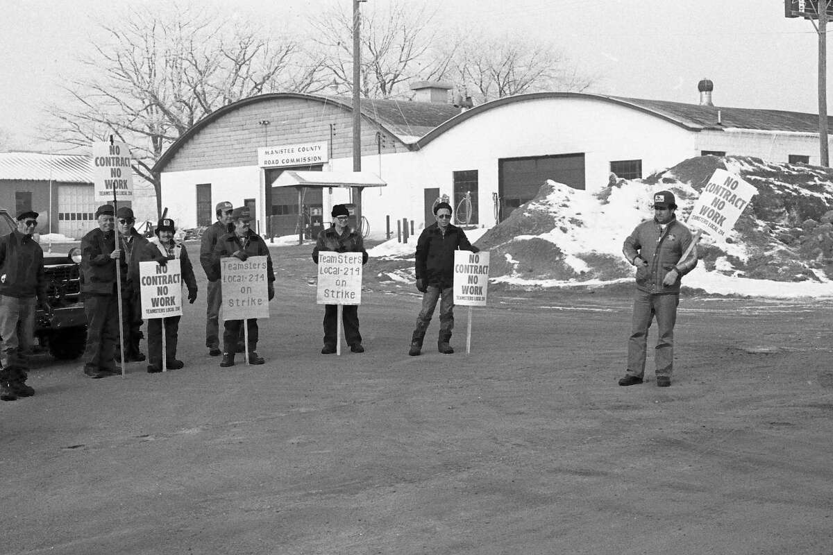 On this day in 1981, the front page of the News Advocate featured a photo of members of the Manistee County Road Commission Teamsters 214 on strike. For more details see the adjacent information under the 40 Years Ago subsection. (Manistee County Historical Museum photo)