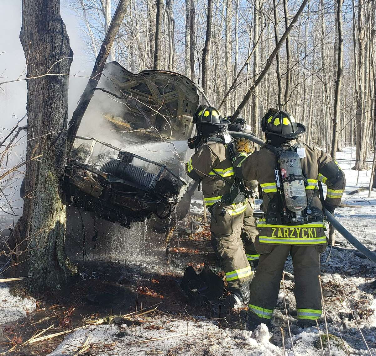 Firefighters in Norfolk responded to a car accident on Route 44 Sunday afternoon.