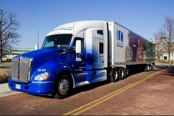 A tractor-trailer from the Lewis and Clark Community College Truck Driver Training Program is displayed on campus.