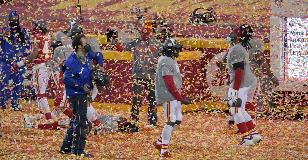 Kansas City Chiefs players celebrate after the AFC championship NFL football game against the Buffalo Bills, Sunday, Jan. 24, 2021, in Kansas City, Mo. The Chiefs won 38-24. (AP Photo/Jeff Roberson)