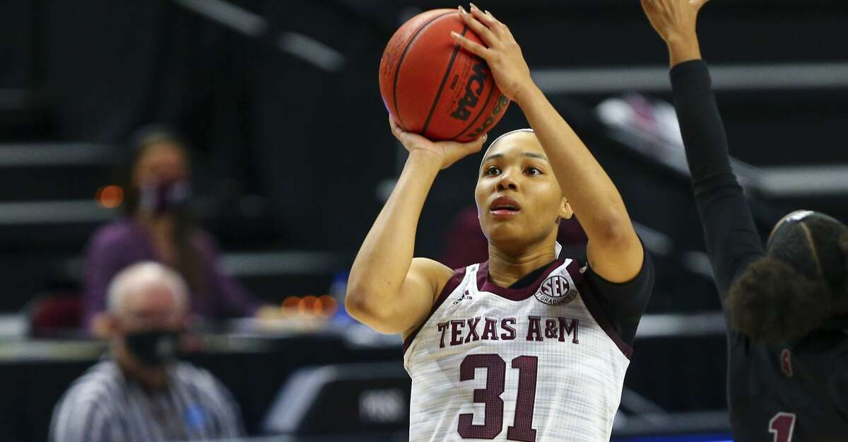 Texas A&M's N'dea Jones (31) eyes the basket during an NCAA college basketball game against Mississippi State, Sunday, Jan. 17, 2021, in College Station, Texas. (Cassie Stricker/College Station Eagle via AP)