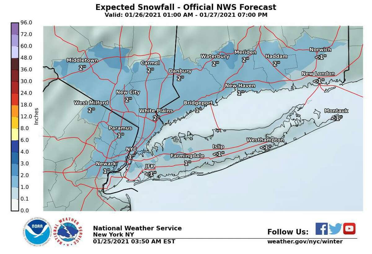 Current expected snowfall totals for Connecticut. Snow, rain and sleet are expected to fall across the tri-state area Tuesday, Jan. 26, 2021 into Wednesday. No advisories have been issued as of Monday.