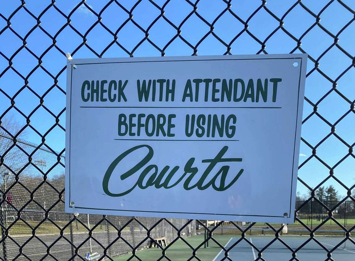 A fee may be imposed for the tennis courts at New Canaan High School to offset the costs incurred by having an attendant. The picture was taken Saturday Jan, 25, 2021.