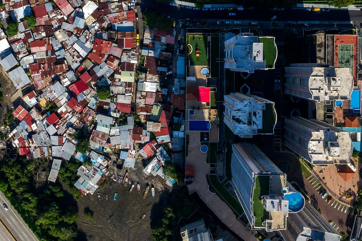 Aerial view of Boca La Caja neighborhood (left) and Torresol residential towers in Panama City taken on May 24, 2020 during the COVID-19 coronavirus pandemic.