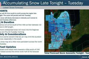 Snowy conditions are expected to persist most of Tuesday, with Midland County forecast to get 2 to 3 inches of snow. (Graphic/National Weather Service Ponitac)