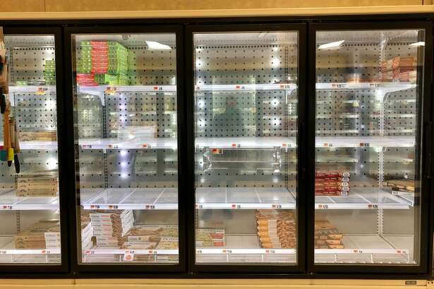 Empty food shelves at a Connecticut Stop & Shop in the spring of 2020.