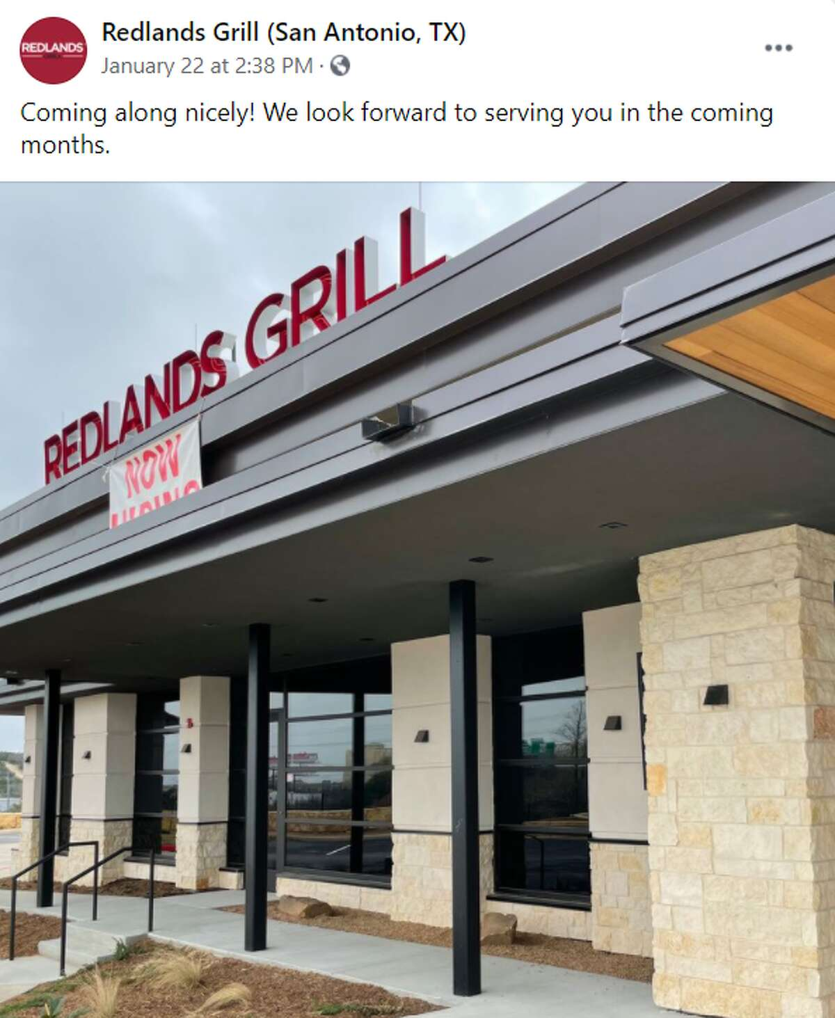 """The grill at 17422 Fiesta Texas Drive was expected to open in the first half of 2020. According to the website and social media pages, the date was pushed back to March 29, 2021. Social media promotions say the location is """"coming along nicely."""""""