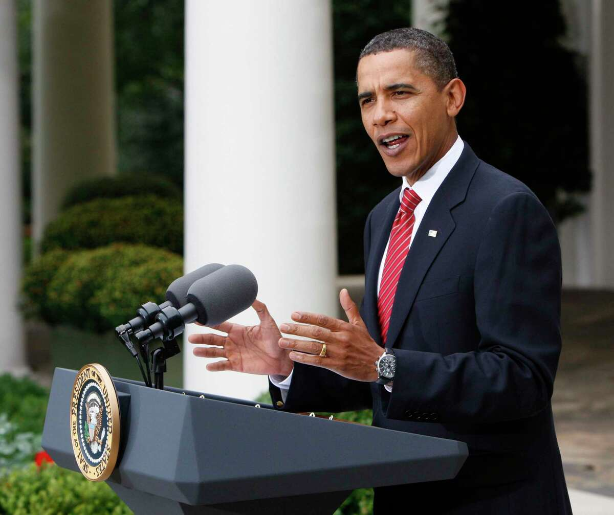 President Barack Obama gestures as he speaks in the Rose Garden of the White House in Washington, Friday, Oct. 2, 2009, about his trip to Copenhagen, Denmark, and his attempt to help Chicago win the 2016 Olympics bid. (AP Photo/Pablo Martinez Monsivais)