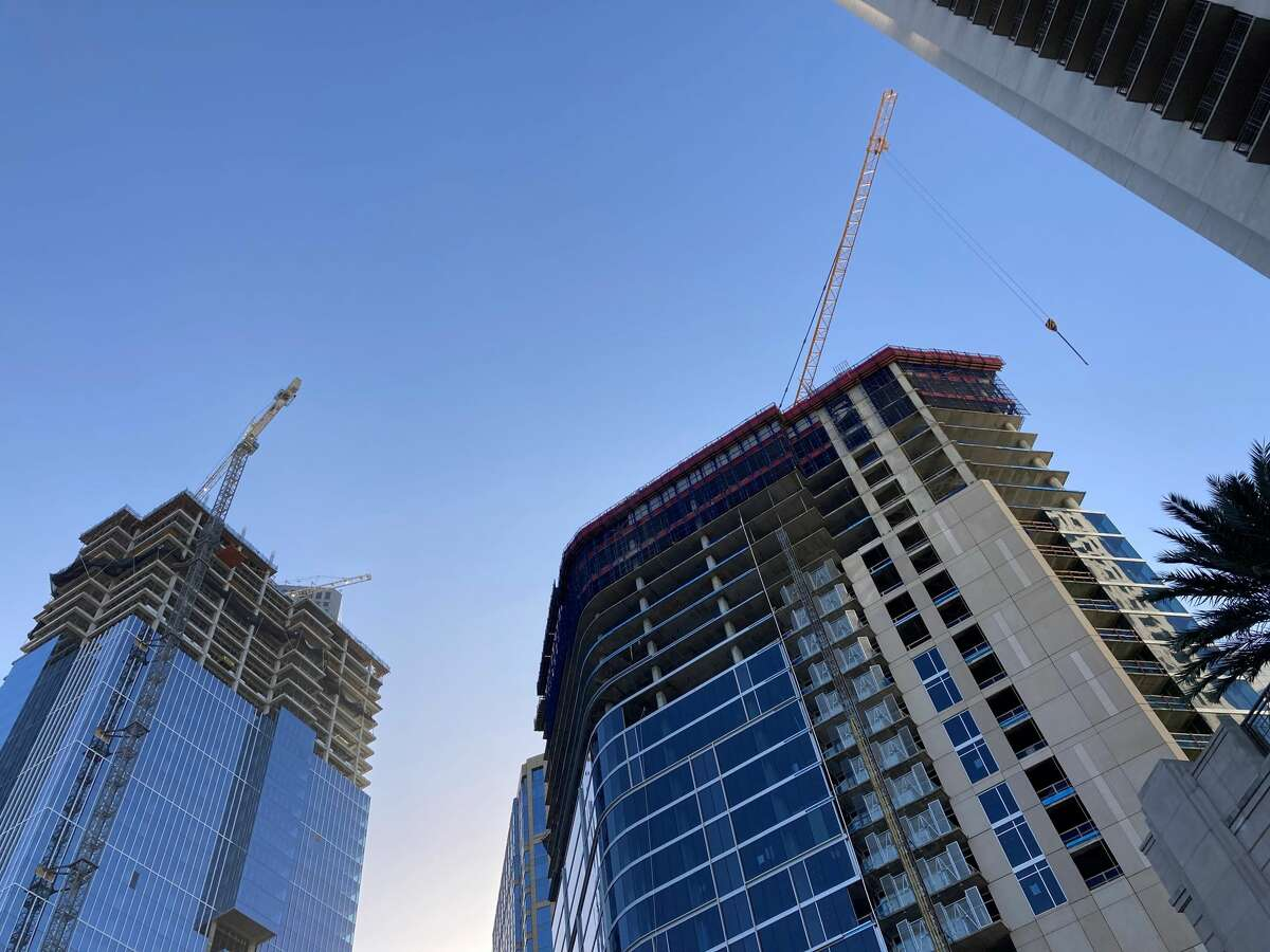 Texas Tower, left, a 47-story office building at 845 Texas Ave., is expected to open in late 2021 and Brava, a 46-story apartment tower at 414 Milam Street is expected to open in 2022. Hines is developing both projects.