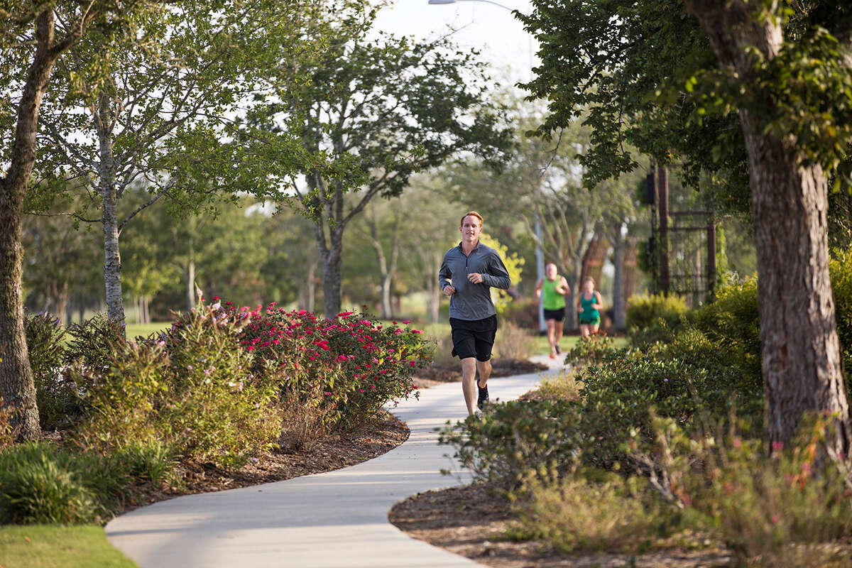 Cane Island offers miles of walking and jogging paths winding through green spaces.